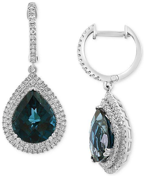 EFFY Collection EFFY® London Blue Topaz (7-3/8 ct. t.w.) & Diamond (5/8 ct. t.w.) Drop Earrings in 14k White Gold