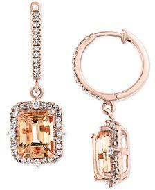 EFFY® Morganite (3-3/8 ct. t.w.) & Diamond (3/8 ct. t.w.) Drop Earrings in 14k Rose Gold
