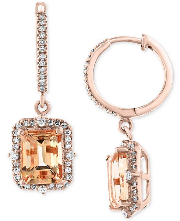 EFFY Collection EFFY® Morganite (3-3/8 ct. t.w.) & Diamond (3/8 ct. t.w.) Drop Earrings in 14k Rose Gold