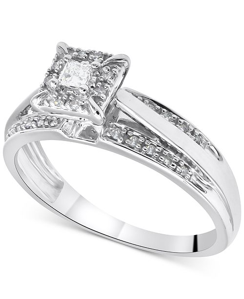 Macy's Diamond Princess Bridal Set (1/3 ct. t.w.) in 14k White Gold