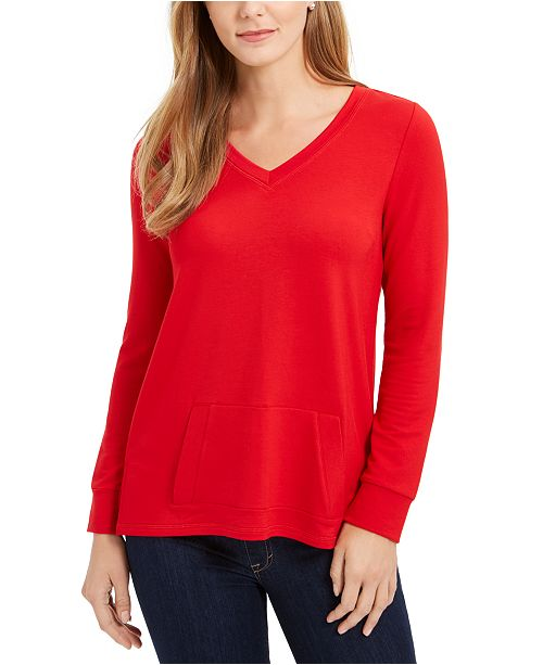 Charter Club French Terry V-Neck Tunic, Created For Macy's