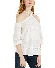 INC Petite Embroidered Cold-Shoulder Top, Created For Macy's