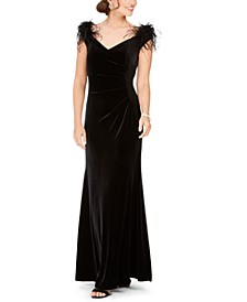 Velvet Feather-Trim Off-The-Shoulder Gown