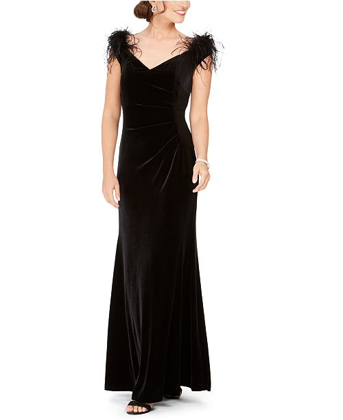 Eliza J Velvet Feather-Trim Off-The-Shoulder Gown