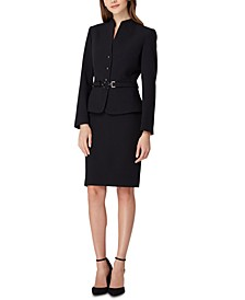 Belted-Jacket Skirt Suit