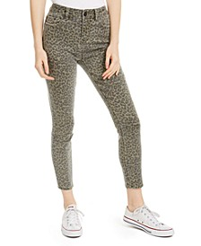 Juniors' Leopard-Print Cropped Skinny Jeans
