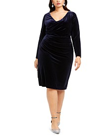 Plus Size Velvet Ruched Bodycon Dress