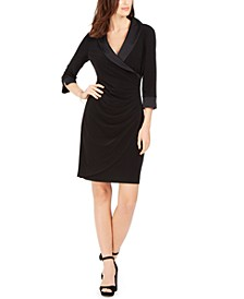 Petite Tuxedo-Collar Sheath Dress