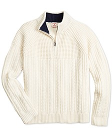 Men's Red Fleece Mix-Stitch 1/2-Zip Sweater