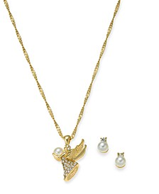 "Gold-Tone Crystal & Imitation Pearl Angel Pendant Necklace & Stud Earrings Boxed Set, 17"" + 2"" extender, Created For Macy's"