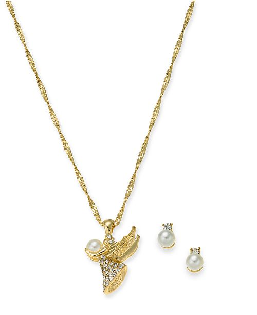 "Charter Club Gold-Tone Crystal & Imitation Pearl Angel Pendant Necklace & Stud Earrings Boxed Set, 17"" + 2"" extender, Created For Macy's"