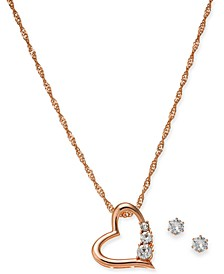"Rose Gold-Tone Crystal Heart Pendant Necklace & Stud Earrings Set, 17"" + 3"" extender, Created For Macy's"
