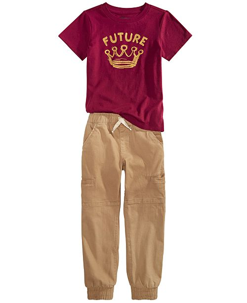 Epic Threads Little Boys Future T-Shirt & Stretch Twill Cargo Joggers, Created For Macy's