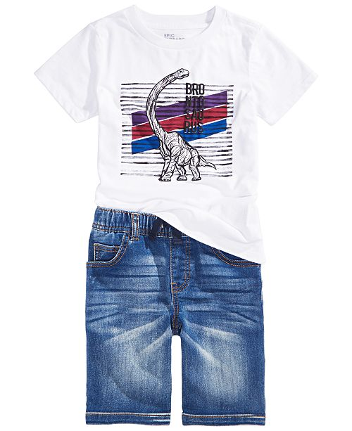 Epic Threads Little Boys Brontosaurus T-Shirt & Baxter Stretch Denim Shorts, Created For Macy's
