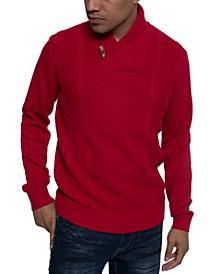 Men's Tri-Pattern Shawl Collar Sweater