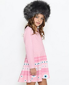 Toddler Fit and Flare Long Sleeve Dress with A Round Neck Magic Eye Engineer Print