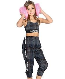 Little Girls Comfy Jogger with Logo Elastic Band on Sides
