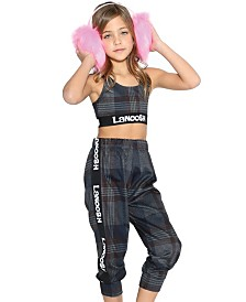 Lanoosh Little Girls and Boys Comfy Jogger with Logo Elastic Band on Sides