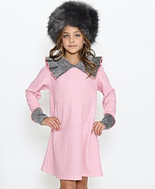 Little Girls A-Line Dress with Exaggerated Collared Neck Detail Silver-Tone Metallic Fabric