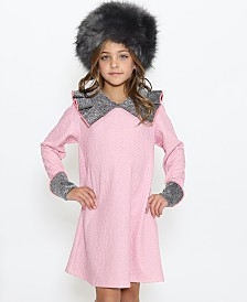 Lanoosh Little Girls A-Line Dress with Exaggerated Collared Neck Detail Silver-Tone Metallic Fabric