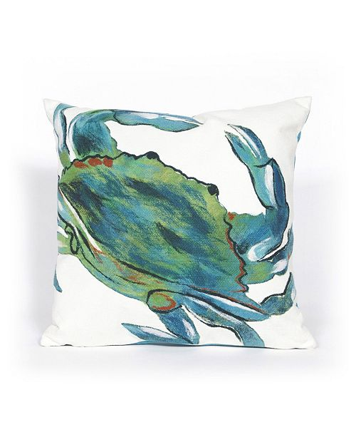 """Liora Manne Visions III Blue Crab Indoor, Outdoor Pillow - 20"""" Square"""