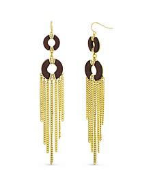 Wood Circle Tassel Earring in Yellow Gold-Tone Alloy