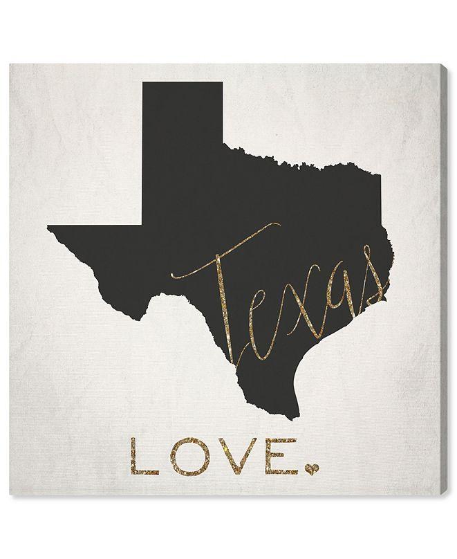 "Oliver Gal Texas Love Canvas Art, 12"" x 12"""