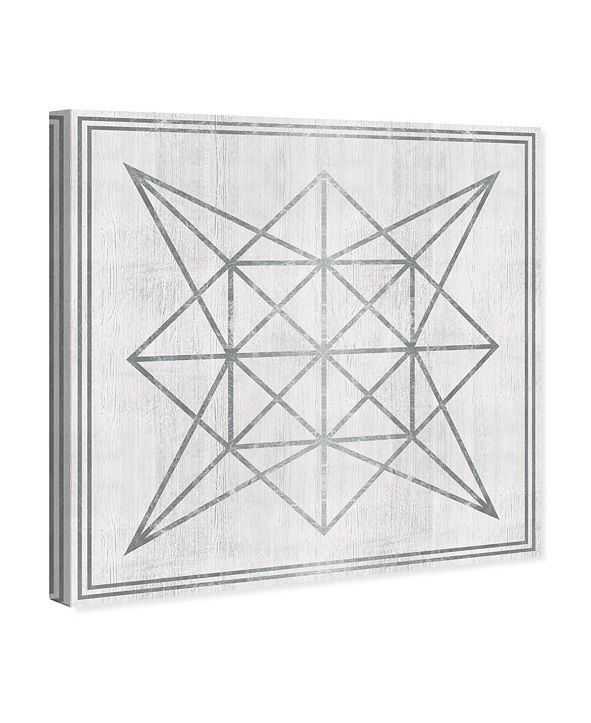 "Oliver Gal Whitewash Wood Geometric Star Canvas Art, 43"" x 43"""