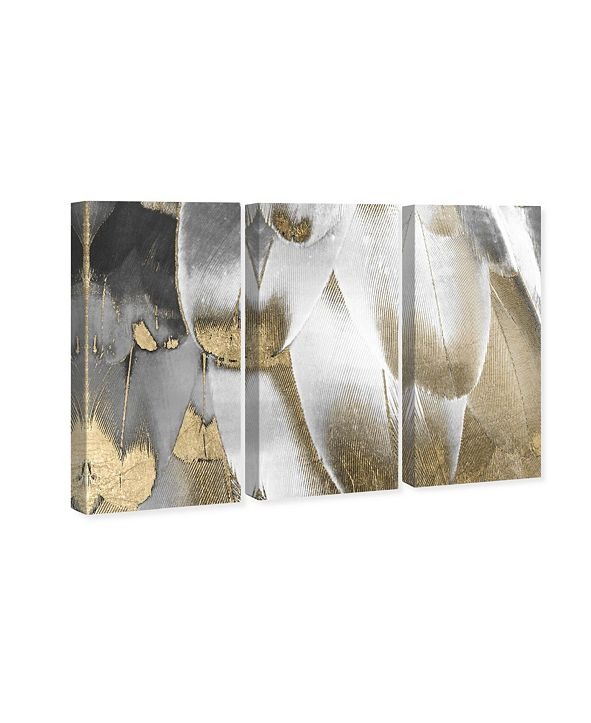 "Oliver Gal Royal Feathers Triptych Canvas Art, 17"" x 36"""