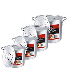 Kitchen Sense 4 Piece Aluminum Stock Pot Set with Steamer