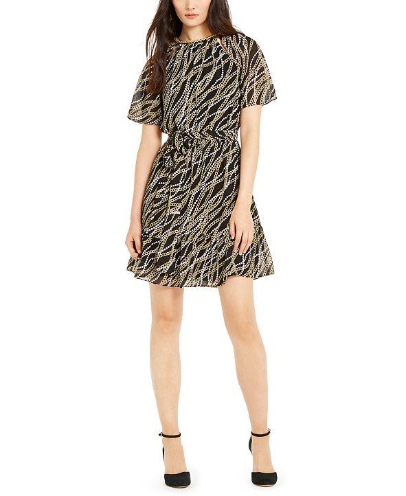 Michael Kors Printed Chain-Detail Dress, Regular & Petite