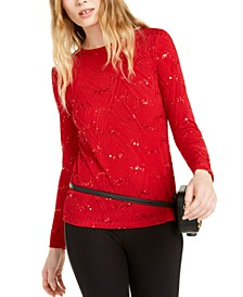 Plus Size Sequin-Detail Jacquard Top