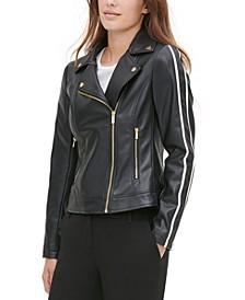 Faux-Leather Racer-Stripe Moto Jacket