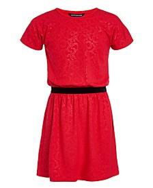 Big Girls Velvet-Waist Logo Dress