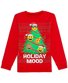 Big Boys Holiday Emoji Tree Sweatshirt