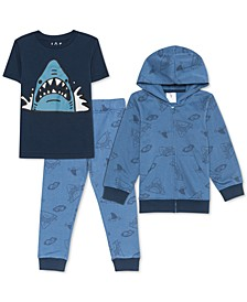 Little Boys 3-Pc. Shark Hoodie, T-Shirt & Joggers Set