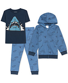 Jem Toddler Boys 3-Pc. Shark Hoodie, T-Shirt & Joggers Set