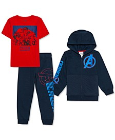Little Boys 3-Pc. Avengers Hoodie, T-Shirt & Joggers Set