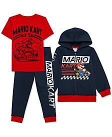 Little Boys 3-Pc. Mario Kart Hoodie, T-Shirt & Joggers Set