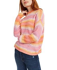 Juniors' Striped Mock-Neck Sweater