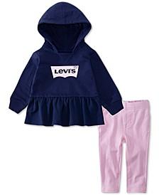 Baby Girls 2-Pc. Peplum Logo Hoodie & Leggings Set