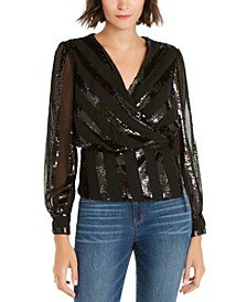 INC Sequinned-Stripe Wrap Top, Created For Macy's