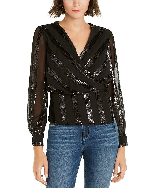 INC International Concepts INC Sequinned-Stripe Wrap Top, Created For Macy's