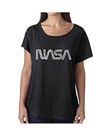 Women's Dolman Cut Word Art Shirt - Worm Nasa