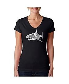 Women's Word Art V-Neck T-Shirt - SPECIES OF SHARK
