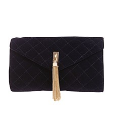 Quilted Velvet Envelope with Gold-Tone Center Tassel Clutch