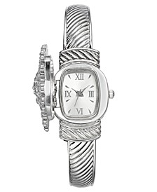 Women's Silver-Tone Crystal Snowflake Cover Bracelet Watch 30mm, Created for Macy's