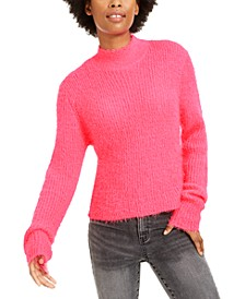 Juniors' Eyelash Mock-Neck Sweater