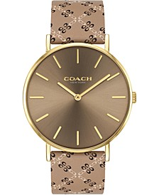 Women's Perry Taupe Leather Strap Watch 36mm, Created for Macy's