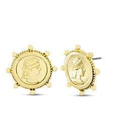 Figure Coin Post Stud Earring in Yellow Goldtone Alloy